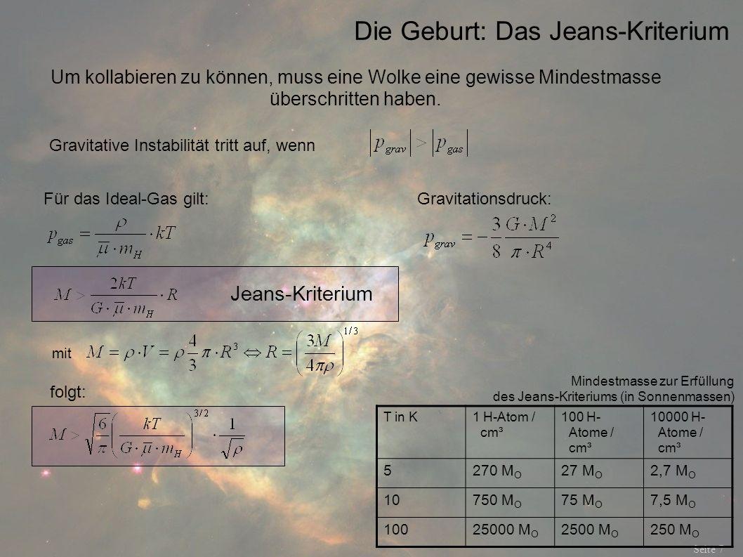 Die Geburt: Das Jeans-Kriterium Seite 7 Um kollabieren zu können, muss eine Wolke eine gewisse Mindestmasse überschritten haben. Für das Ideal-Gas gil