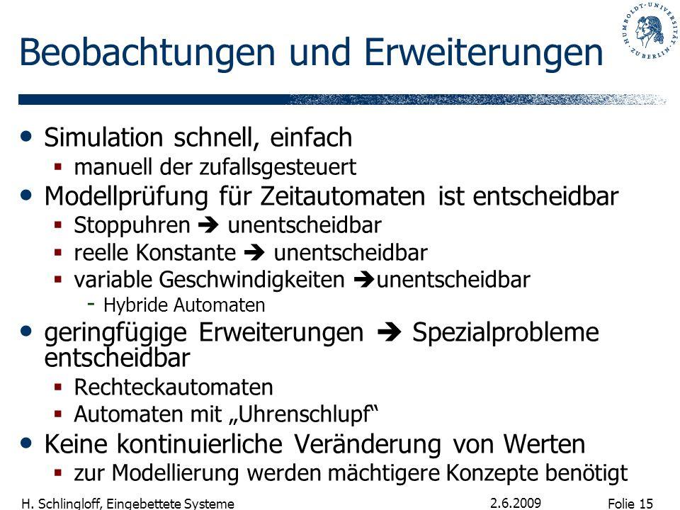 Folie 15 H. Schlingloff, Eingebettete Systeme 2.6.2009 Beobachtungen und Erweiterungen Simulation schnell, einfach manuell der zufallsgesteuert Modell
