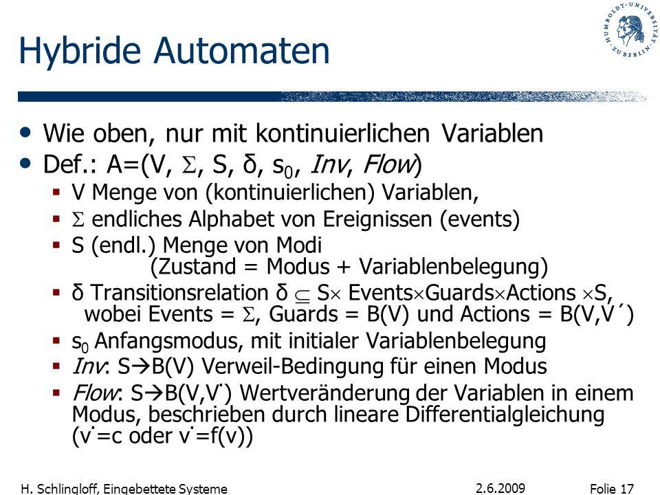 Folie 17 H. Schlingloff, Eingebettete Systeme 2.6.2009 Hybride Automaten Wie oben, nur mit kontinuierlichen Variablen Def.: A=(V,, S, δ, s 0, Inv, Flo