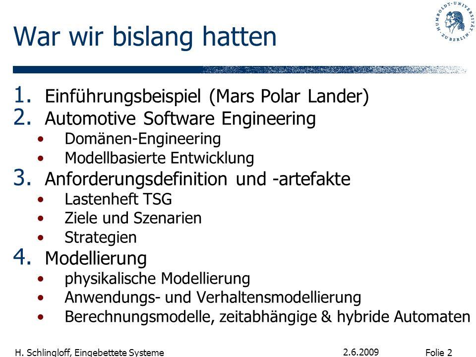 Folie 2 H. Schlingloff, Eingebettete Systeme 2.6.2009 War wir bislang hatten 1. Einführungsbeispiel (Mars Polar Lander) 2. Automotive Software Enginee