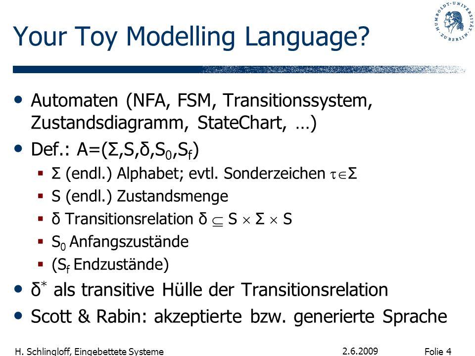 Folie 4 H. Schlingloff, Eingebettete Systeme 2.6.2009 Your Toy Modelling Language? Automaten (NFA, FSM, Transitionssystem, Zustandsdiagramm, StateChar