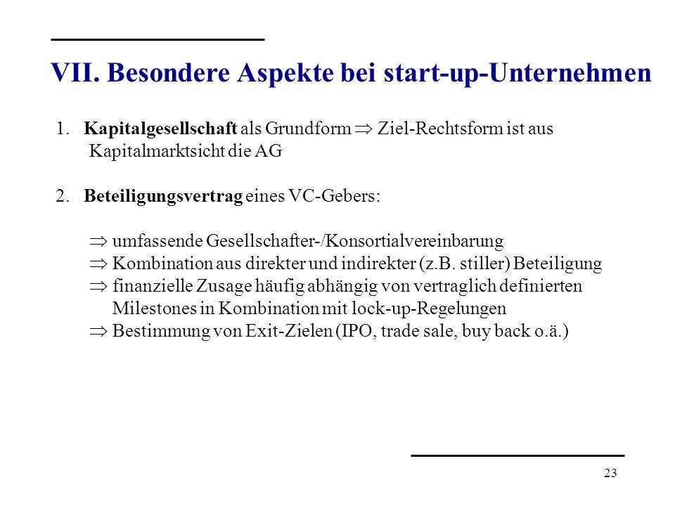 23 VII. Besondere Aspekte bei start-up-Unternehmen 1. Kapitalgesellschaft als Grundform Ziel-Rechtsform ist aus Kapitalmarktsicht die AG 2. Beteiligun