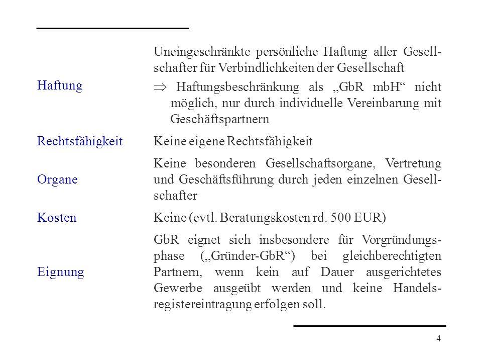 4 Haftung Uneingeschränkte persönliche Haftung aller Gesell- schafter für Verbindlichkeiten der Gesellschaft Haftungsbeschränkung als GbR mbH nicht mö