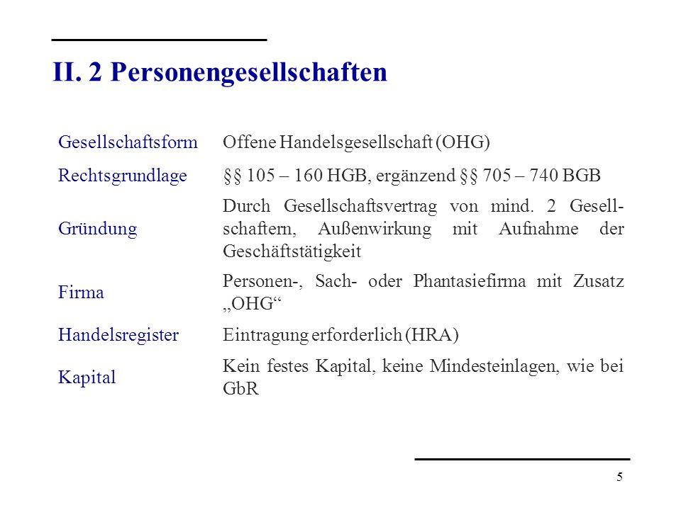 5 GesellschaftsformOffene Handelsgesellschaft (OHG) Rechtsgrundlage§§ 105 – 160 HGB, ergänzend §§ 705 – 740 BGB Gründung Durch Gesellschaftsvertrag vo