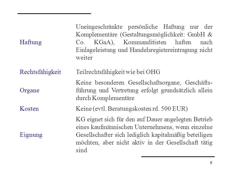 8 Haftung Uneingeschränkte persönliche Haftung nur der Komplementäre (Gestaltungsmöglichkeit: GmbH & Co. KGaA), Kommanditisten haften nach Einlageleis