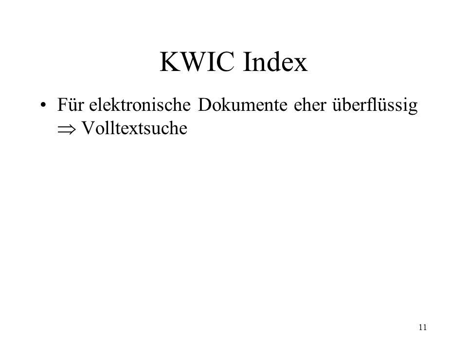 12 KWIC Index Wie entsteht der KWIC Index.