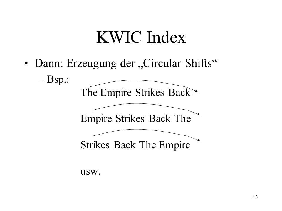 14 KWIC Index Dabei ist die ursprüngliche Zeile selbst ein Circular Shift.