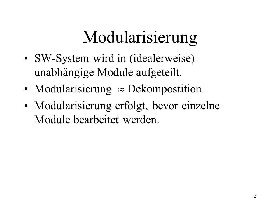 3 Modularisierung Vorteile: –Organisatorische: Mehrere Teams können unabhängig voneinander arbeiten.