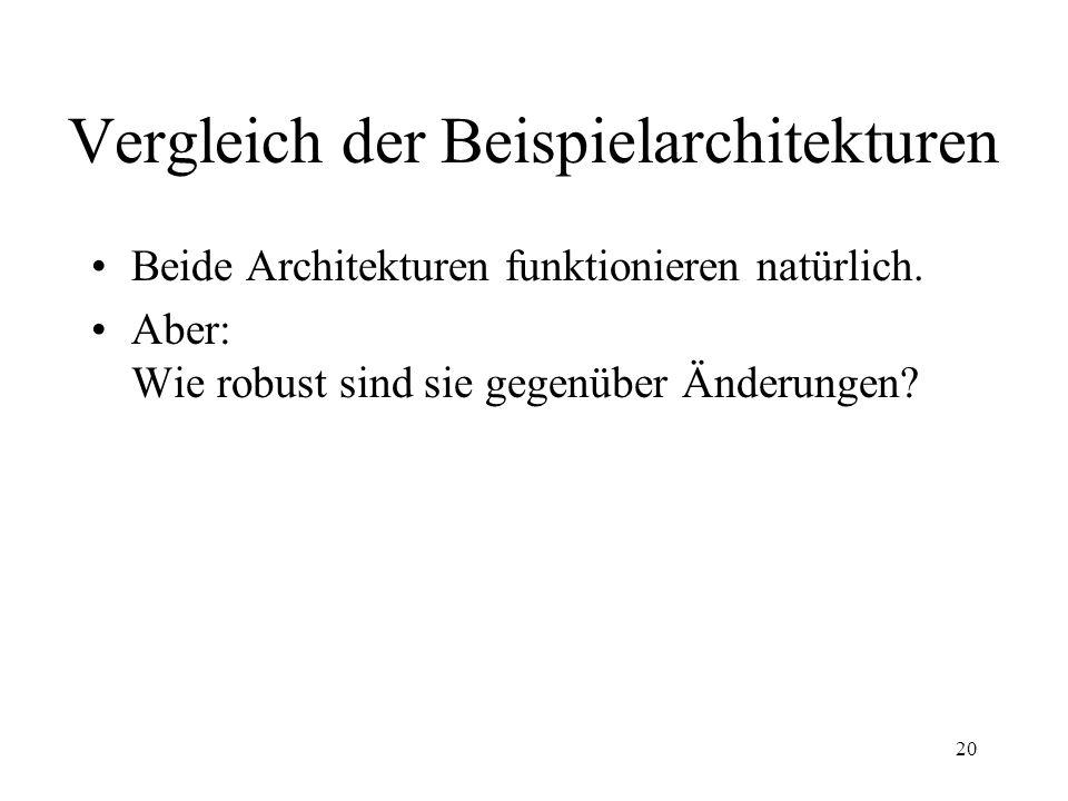 21 Vergleich der Beispielarchitekturen Änderung: Eingabe-Format MainSubroutine-Architektur: Änderung des Eingabe-Formats Änderung eines Moduls Abb.: TU Graz (siehe Literatur/ Links auf Folie 30)