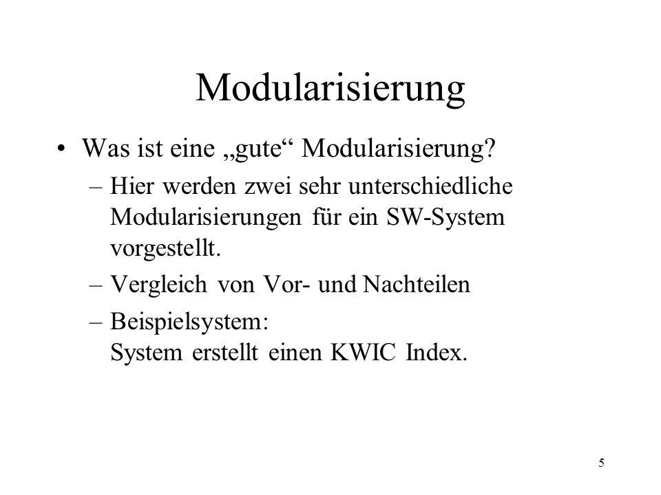 6 KWIC Index KWIC = KeyWord In Context Normaler Index (wie in den meisten Büchern) ohne Kontext KWIC Index wie normaler Index alphabetisch geordnet