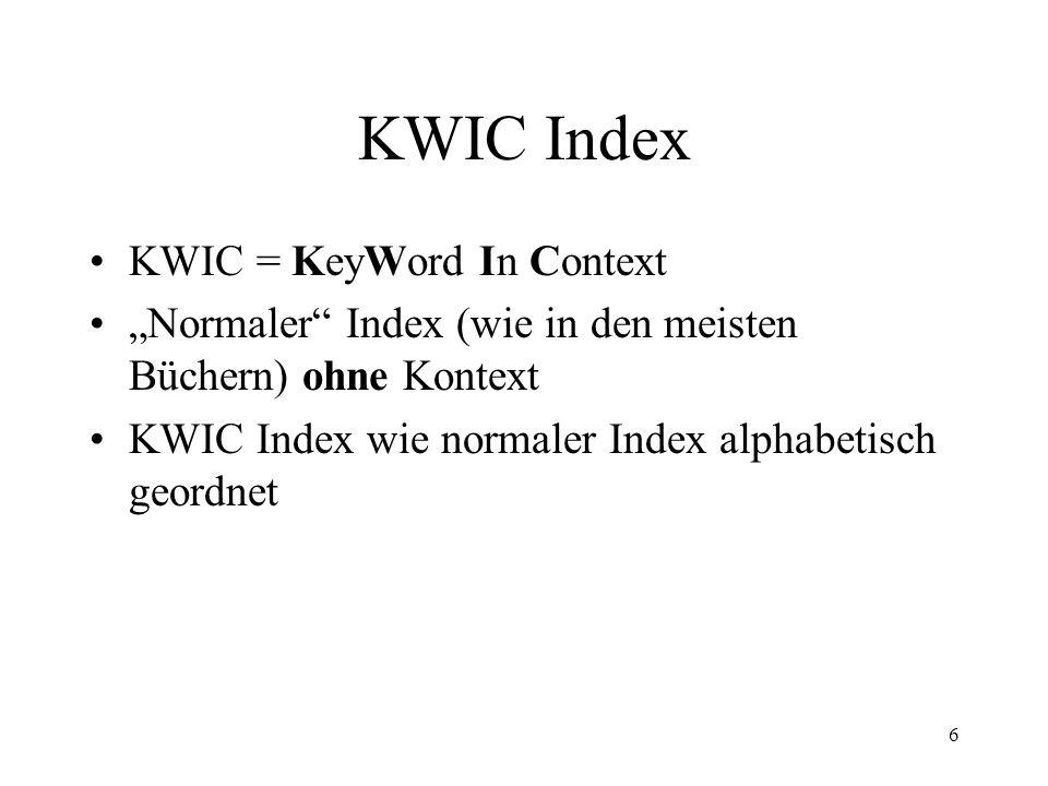 7 KWIC Index Bsp.