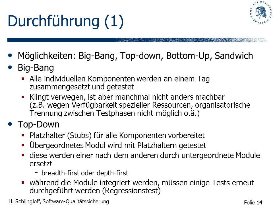Folie 14 H. Schlingloff, Software-Qualitätssicherung Durchführung (1) Möglichkeiten: Big-Bang, Top-down, Bottom-Up, Sandwich Big-Bang Alle individuell