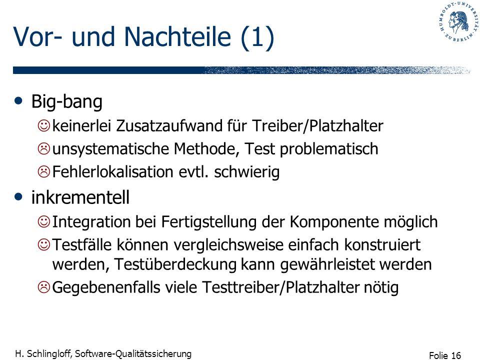 Folie 16 H. Schlingloff, Software-Qualitätssicherung Vor- und Nachteile (1) Big-bang keinerlei Zusatzaufwand für Treiber/Platzhalter unsystematische M