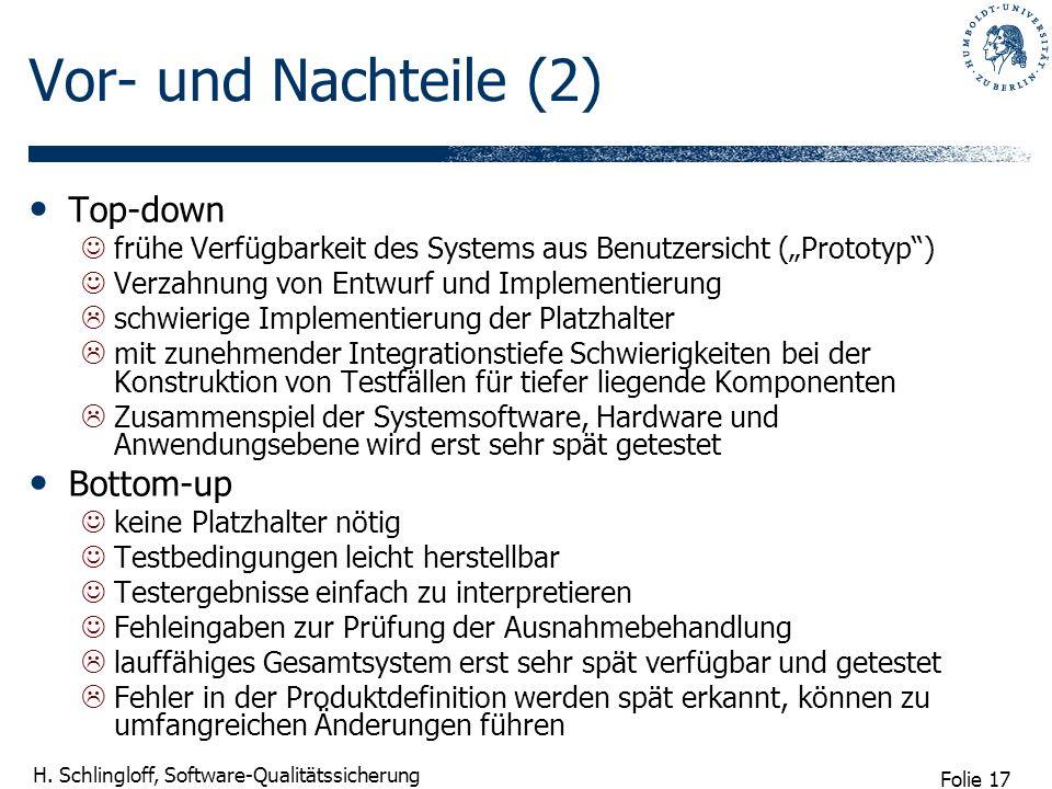 Folie 17 H. Schlingloff, Software-Qualitätssicherung Vor- und Nachteile (2) Top-down frühe Verfügbarkeit des Systems aus Benutzersicht (Prototyp) Verz