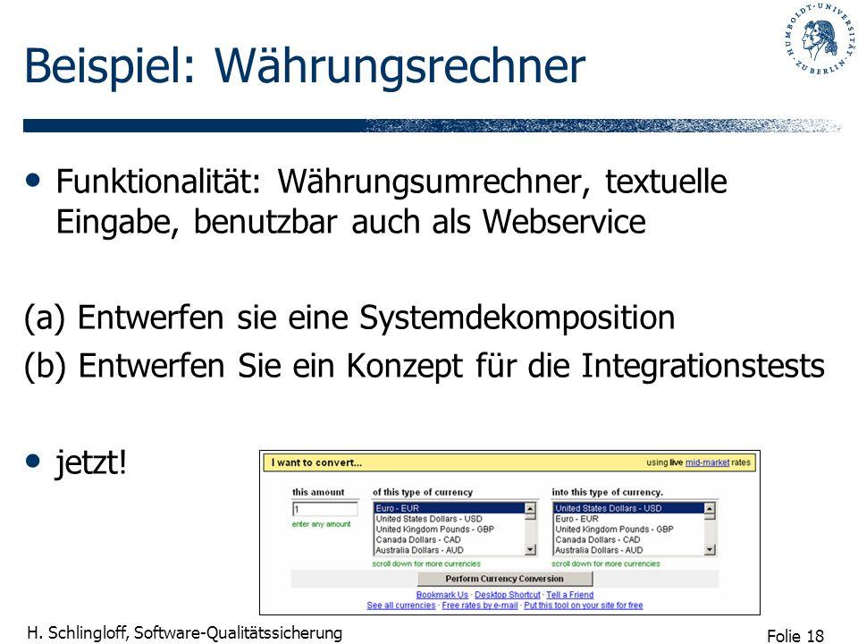 Folie 18 H. Schlingloff, Software-Qualitätssicherung Beispiel: Währungsrechner Funktionalität: Währungsumrechner, textuelle Eingabe, benutzbar auch al