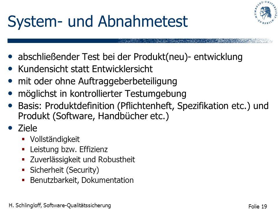 Folie 19 H. Schlingloff, Software-Qualitätssicherung System- und Abnahmetest abschließender Test bei der Produkt(neu)- entwicklung Kundensicht statt E