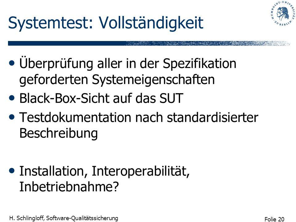 Folie 20 H. Schlingloff, Software-Qualitätssicherung Systemtest: Vollständigkeit Überprüfung aller in der Spezifikation geforderten Systemeigenschafte