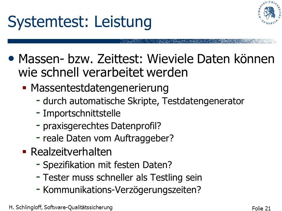 Folie 21 H. Schlingloff, Software-Qualitätssicherung Systemtest: Leistung Massen- bzw. Zeittest: Wieviele Daten können wie schnell verarbeitet werden
