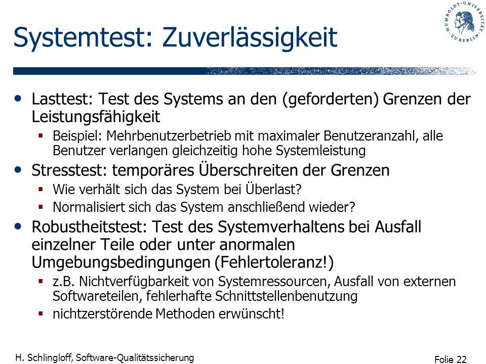 Folie 22 H. Schlingloff, Software-Qualitätssicherung Systemtest: Zuverlässigkeit Lasttest: Test des Systems an den (geforderten) Grenzen der Leistungs