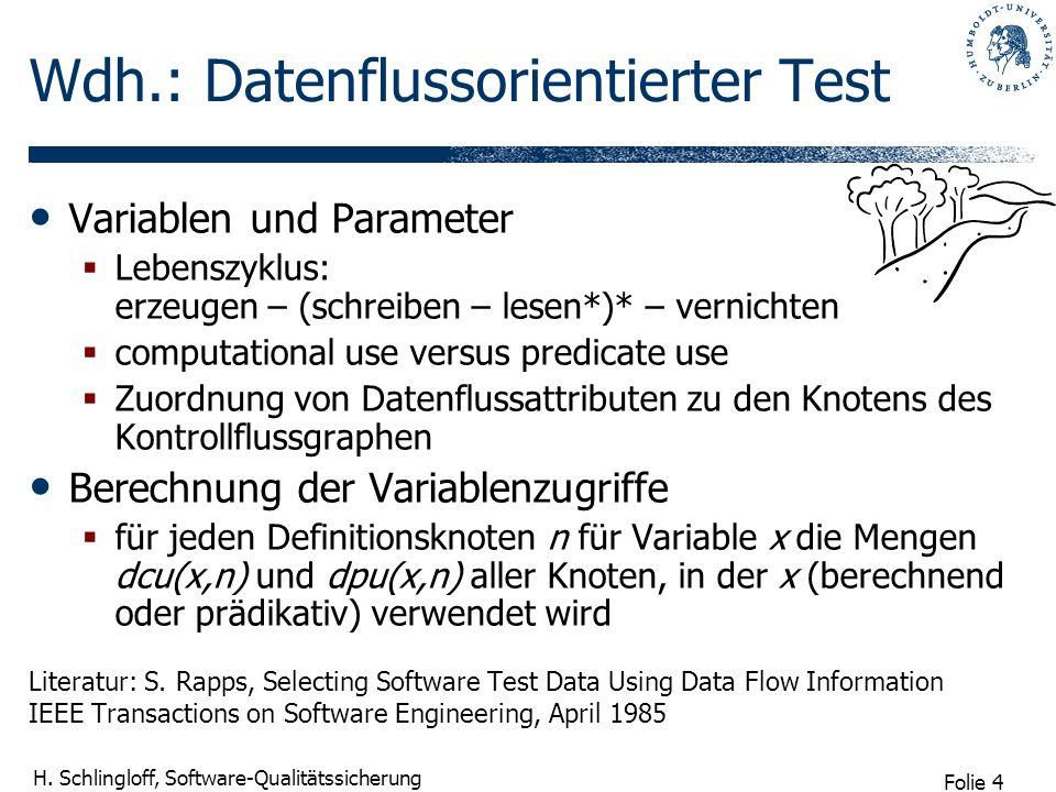 Folie 4 H. Schlingloff, Software-Qualitätssicherung Wdh.: Datenflussorientierter Test Variablen und Parameter Lebenszyklus: erzeugen – (schreiben – le