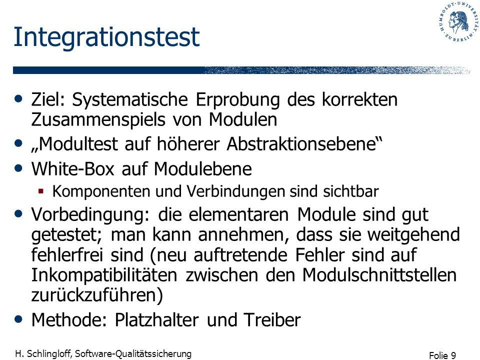 Folie 9 H. Schlingloff, Software-Qualitätssicherung Integrationstest Ziel: Systematische Erprobung des korrekten Zusammenspiels von Modulen Modultest