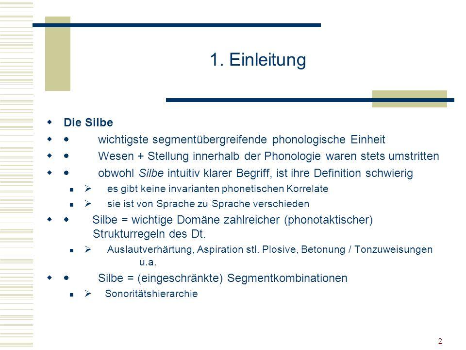 13 Alle Obstruenten haben dieselbe Sonorität Der wichtigste Unterschied zur der Sonoritätshierarchie von Sievers/Vennemman, die allerdings eher für das Deutsche ausgedacht wurde, ist dabei, dass alle Obstruenten dieselbe Sonorität haben.