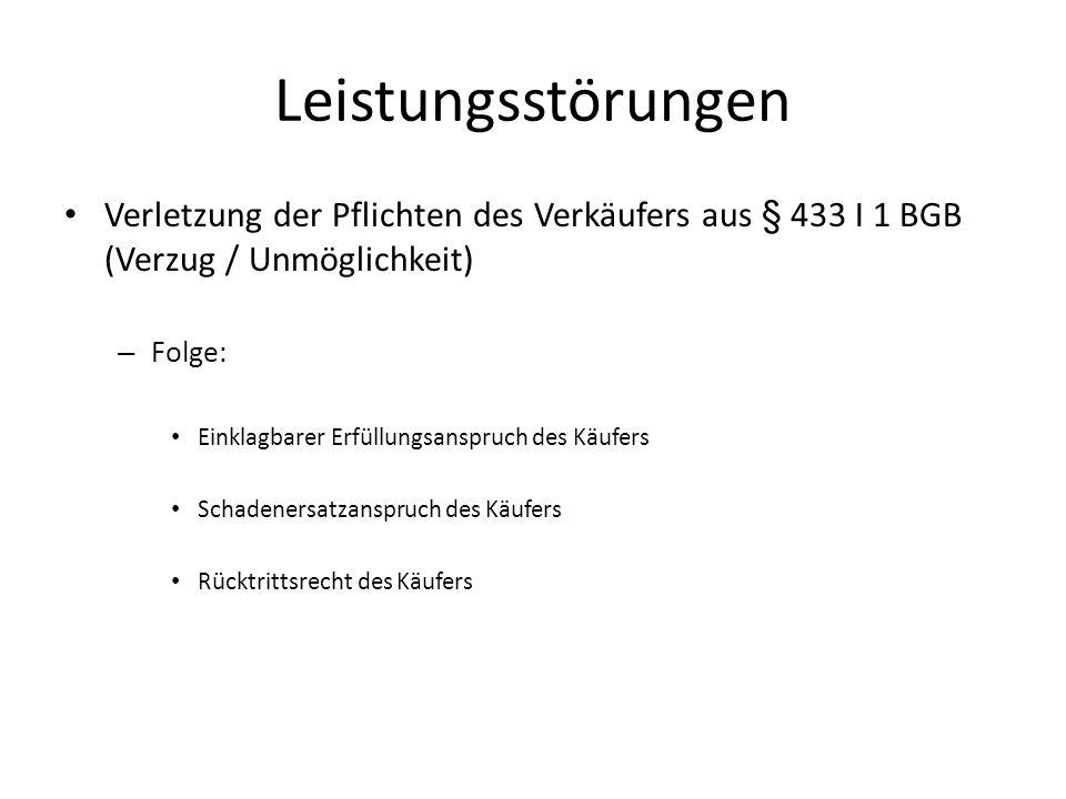 Leistungsstörungen Verletzung der Pflichten des Verkäufers aus § 433 I 1 BGB (Verzug / Unmöglichkeit) – Folge: Einklagbarer Erfüllungsanspruch des Käu