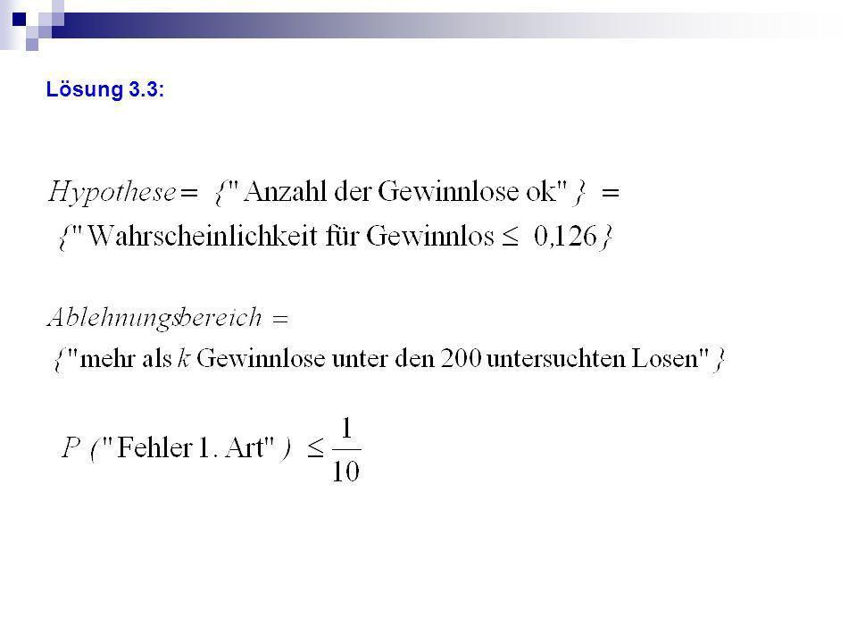 Zuordnung der Anforderungsbereiche I-III 3.1 IReproduktion: Anwendung von Wahrscheinlichkeiten im Baumdiagramm 3.2IIZusammenhang herstellen: Spiel mit Gewinnlos als Bernoullikette erkennen 3.3IIZusammenhang herstellen: Versuch kann als Bernoullikette gesehen werden 3.4II+IIIZusammenhang herstellen: Fehler 2.