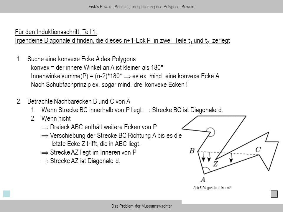 Fisks Beweis; Schritt 1; Triangulierung des Polygons; Beweis Das Problem der Museumswächter Für den Induktionsschritt, Teil 1: Irgendeine Diagonale d
