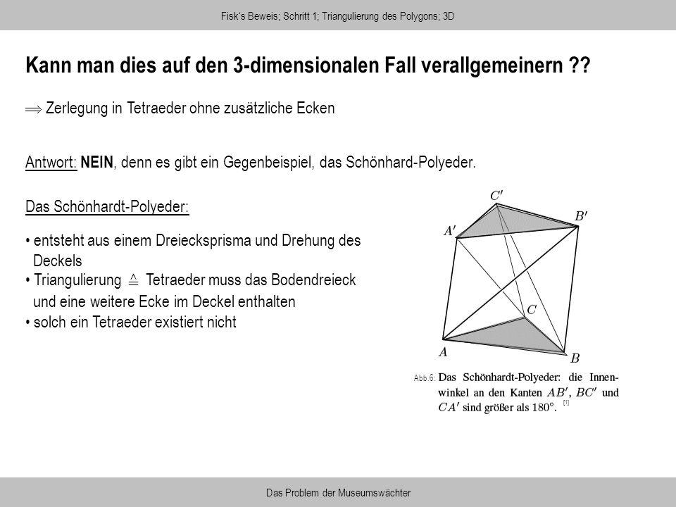 Kann man dies auf den 3-dimensionalen Fall verallgemeinern ?? Fisks Beweis; Schritt 1; Triangulierung des Polygons; 3D Das Problem der Museumswächter