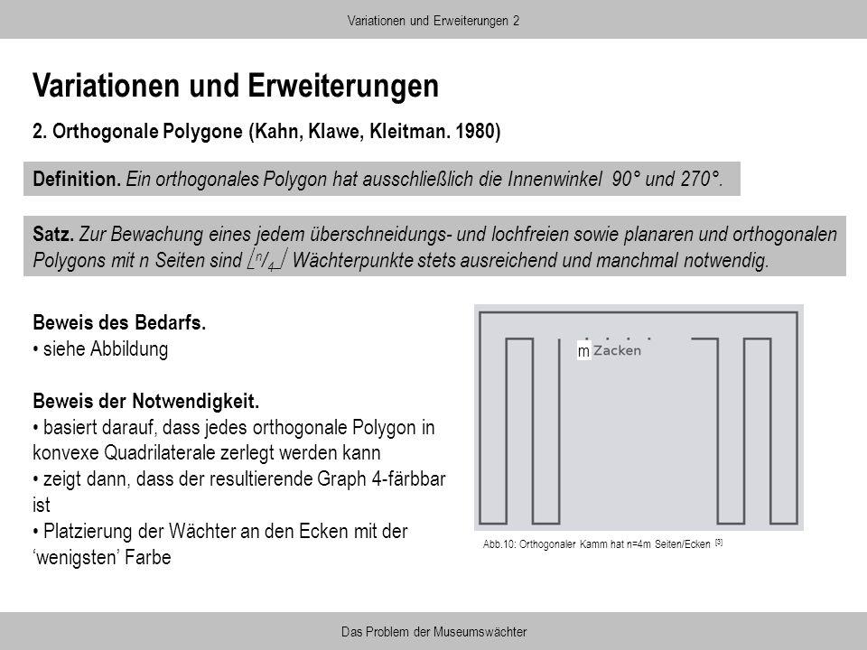 Variationen und Erweiterungen 2. Orthogonale Polygone (Kahn, Klawe, Kleitman. 1980) Variationen und Erweiterungen 2 Das Problem der Museumswächter Def