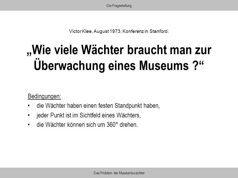 Wie viele Wächter braucht man zur Überwachung eines Museums ? Bedingungen: die Wächter haben einen festen Standpunkt haben, jeder Punkt ist im Sichtfe