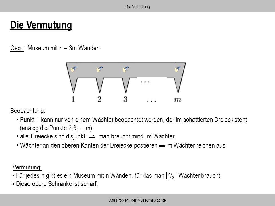 Beobachtung: Die Vermutung Das Problem der Museumswächter Die Vermutung Geg.: Museum mit n = 3m Wänden. Vermutung: Für jedes n gibt es ein Museum mit