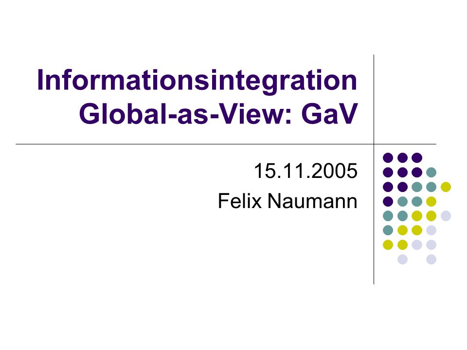 15.11.2005Felix Naumann, VL Informationsintegration, WS 05/0622 Global as View (GaV) – Nebenbedingungen Globales Schema Film(Titel, Regie, Jahr, Genre) Anfrage 1: SELECT * FROM Film WHERE Jahr < 1950 SELECT * FROM (SELECT * FROM AlleFilmeNett UNION SELECT Titel, Regie, NULL, Genre FROM AlleFilmeBöse UNION SELECT * FROM NeueFilmeNett WHERE Jahr > 2000 UNION SELECT Titel, Regie, NULL, Genre FROM NeueFilmeBöse UNION SELECT Titel, Regie, 2004, Genre FROM AktuelleFilme) WHERE Jahr < 1950 Trägt voll zum Ergebnis bei Trägt nicht zum Ergebnis bei, obwohl nützlich Trägt nicht zum Ergebnis bei (2000 > 1950) Trägt nicht zum Ergebnis bei (zum Glück) Trägt nicht zum Ergebnis bei (2004 > 1950)