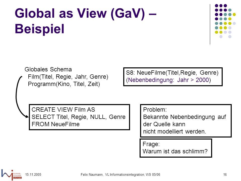 15.11.2005Felix Naumann, VL Informationsintegration, WS 05/0616 Global as View (GaV) – Beispiel Globales Schema Film(Titel, Regie, Jahr, Genre) Progra