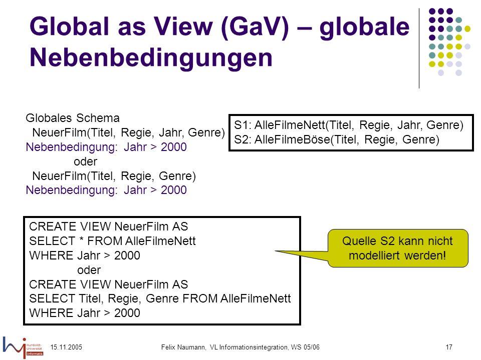 15.11.2005Felix Naumann, VL Informationsintegration, WS 05/0617 Global as View (GaV) – globale Nebenbedingungen Globales Schema NeuerFilm(Titel, Regie