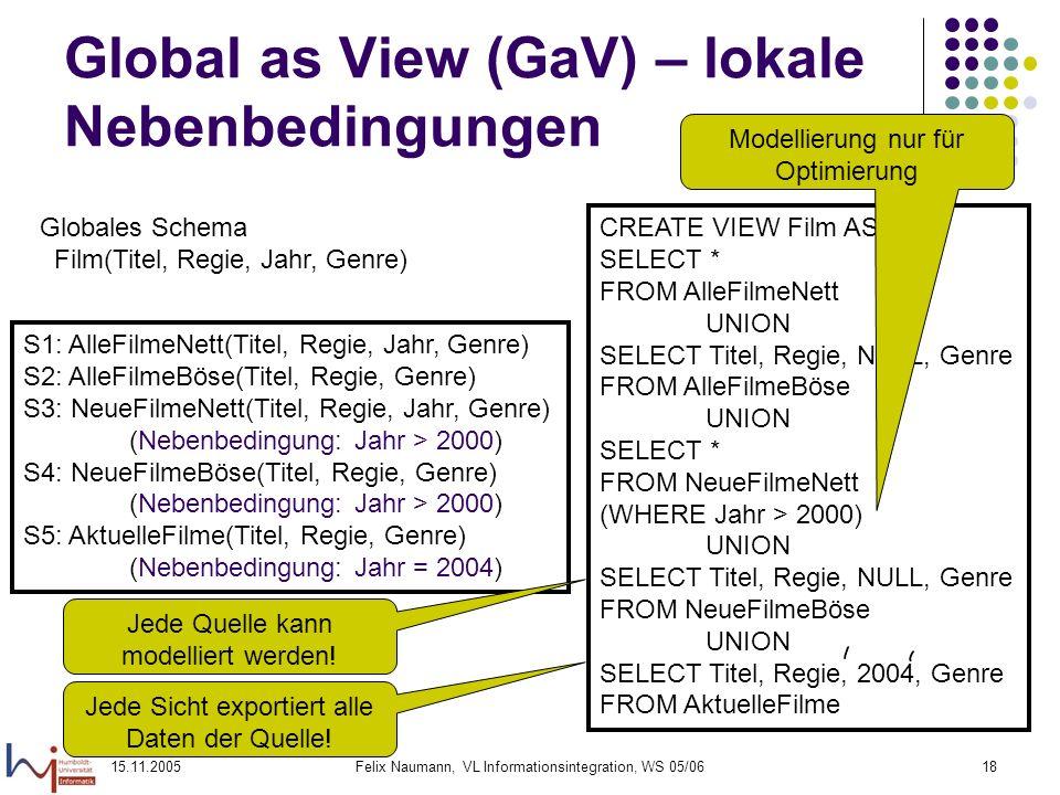 15.11.2005Felix Naumann, VL Informationsintegration, WS 05/0618 Global as View (GaV) – lokale Nebenbedingungen Globales Schema Film(Titel, Regie, Jahr
