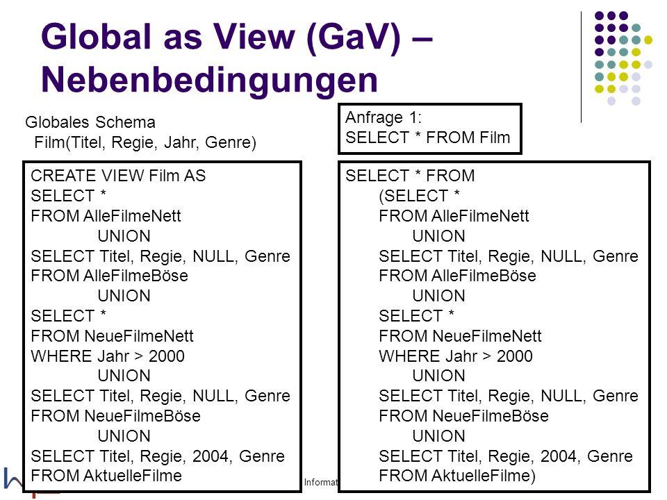 15.11.2005Felix Naumann, VL Informationsintegration, WS 05/0619 Global as View (GaV) – Nebenbedingungen Globales Schema Film(Titel, Regie, Jahr, Genre