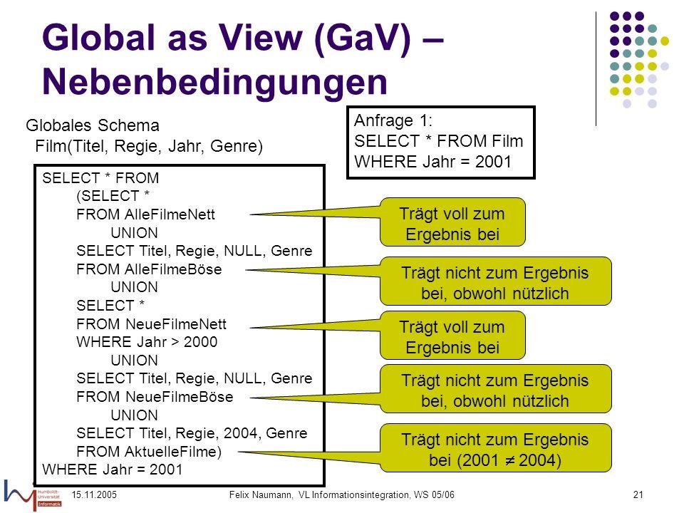 15.11.2005Felix Naumann, VL Informationsintegration, WS 05/0621 Global as View (GaV) – Nebenbedingungen Globales Schema Film(Titel, Regie, Jahr, Genre