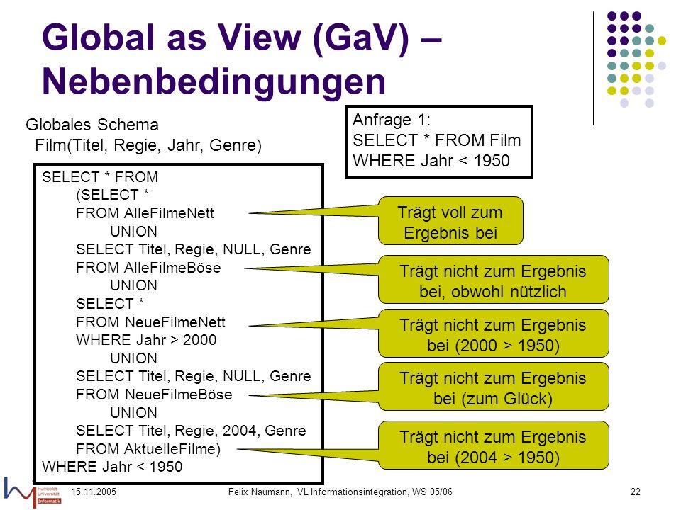15.11.2005Felix Naumann, VL Informationsintegration, WS 05/0622 Global as View (GaV) – Nebenbedingungen Globales Schema Film(Titel, Regie, Jahr, Genre