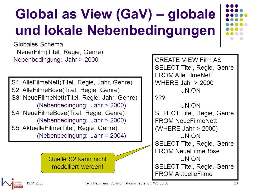 15.11.2005Felix Naumann, VL Informationsintegration, WS 05/0623 Global as View (GaV) – globale und lokale Nebenbedingungen Globales Schema NeuerFilm(T