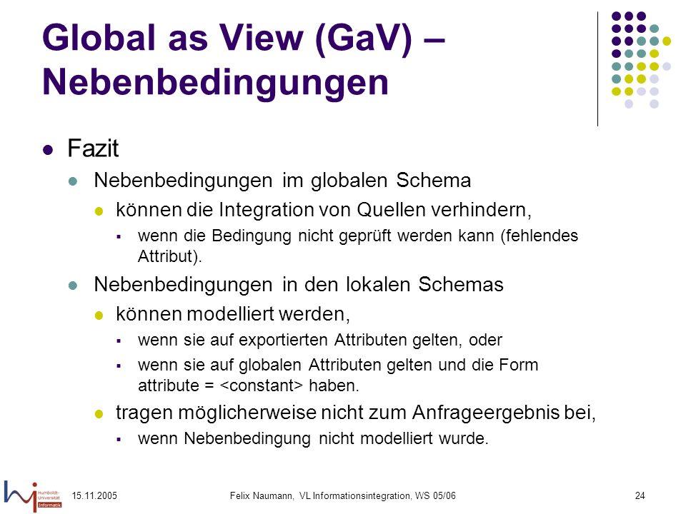 15.11.2005Felix Naumann, VL Informationsintegration, WS 05/0624 Global as View (GaV) – Nebenbedingungen Fazit Nebenbedingungen im globalen Schema könn