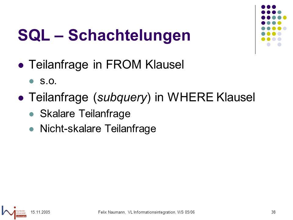 15.11.2005Felix Naumann, VL Informationsintegration, WS 05/0638 SQL – Schachtelungen Teilanfrage in FROM Klausel s.o. Teilanfrage (subquery) in WHERE