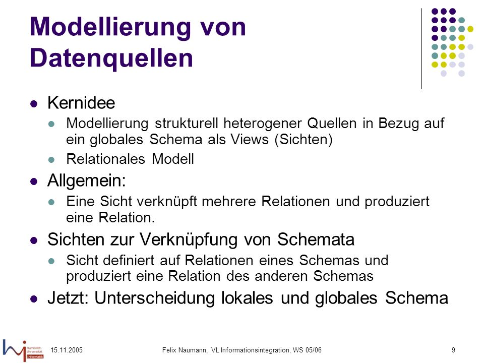 15.11.2005Felix Naumann, VL Informationsintegration, WS 05/069 Modellierung von Datenquellen Kernidee Modellierung strukturell heterogener Quellen in