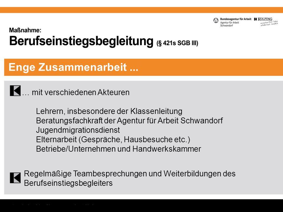 Enge Zusammenarbeit... … mit verschiedenen Akteuren Lehrern, insbesondere der Klassenleitung Beratungsfachkraft der Agentur für Arbeit Schwandorf Juge