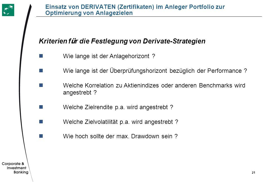 21 Einsatz von DERIVATEN (Zertifikaten) im Anleger Portfolio zur Optimierung von Anlagezielen Kriterien f ü r die Festlegung von Derivate-Strategien W