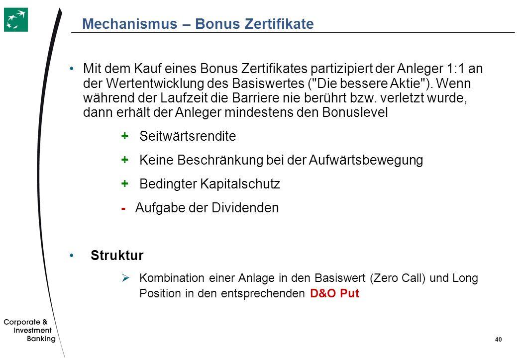 40 Mit dem Kauf eines Bonus Zertifikates partizipiert der Anleger 1:1 an der Wertentwicklung des Basiswertes (