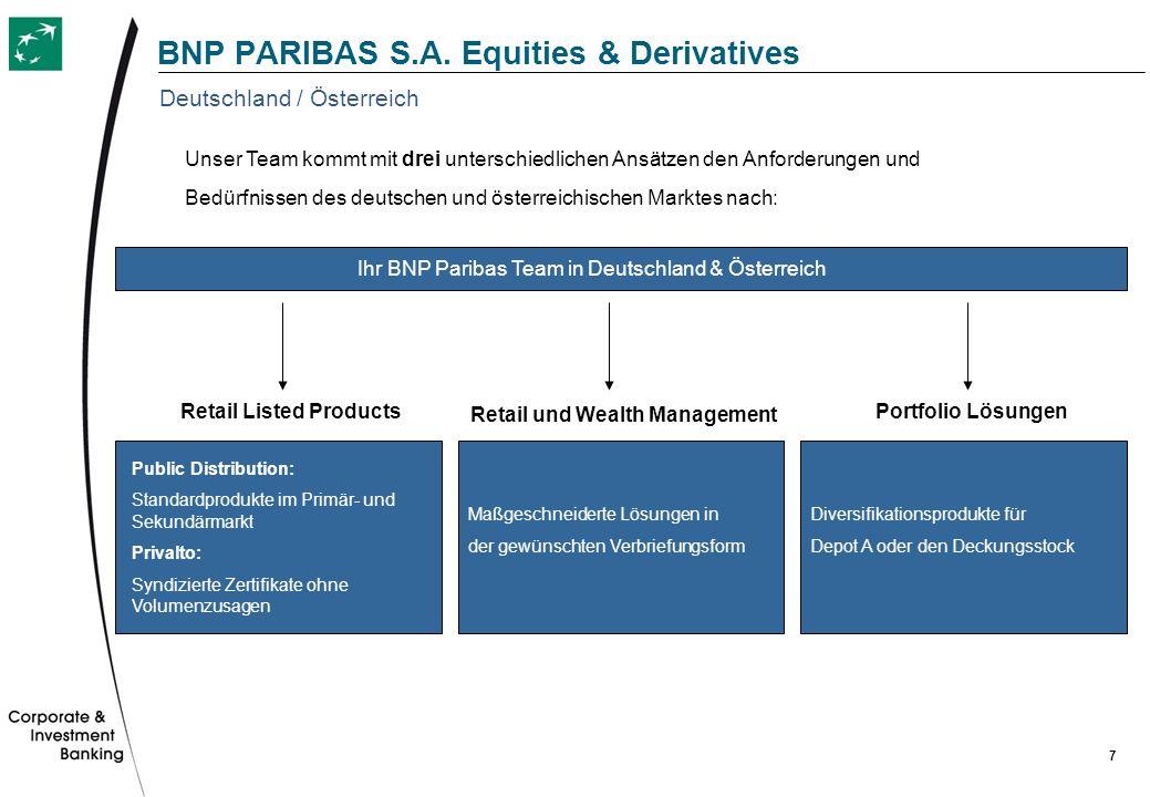 7 BNP PARIBAS S.A. Equities & Derivatives Unser Team kommt mit drei unterschiedlichen Ansätzen den Anforderungen und Bedürfnissen des deutschen und ös