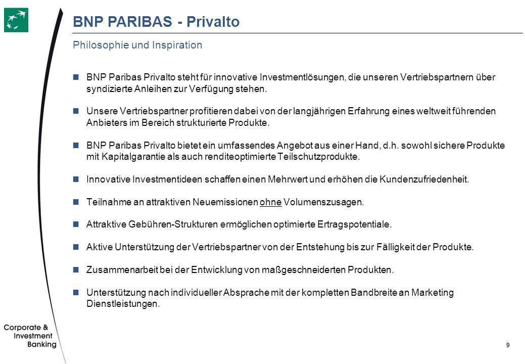 9 BNP Paribas Privalto steht für innovative Investmentlösungen, die unseren Vertriebspartnern über syndizierte Anleihen zur Verfügung stehen. Unsere V