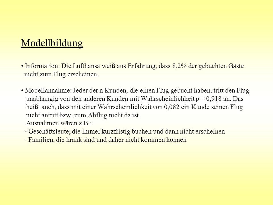 Modellbildung Information: Die Lufthansa weiß aus Erfahrung, dass 8,2% der gebuchten Gäste nicht zum Flug erscheinen. Modellannahme: Jeder der n Kunde